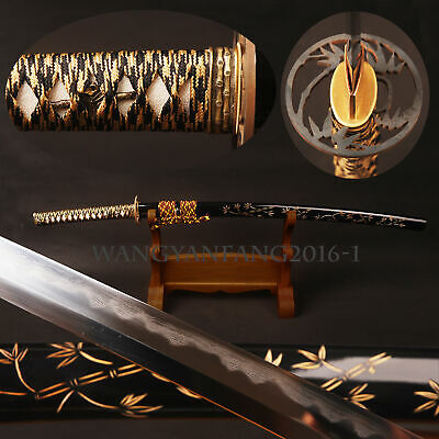Full Tang Japanese Samurai Katana Folded Steel Clay Tempered Sharp Blade