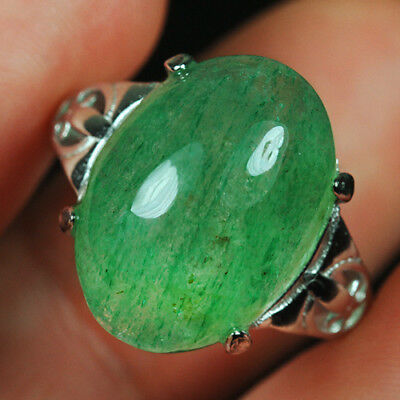 22.3CT 100%Natural 18K Gold Plated Green Strawberry Rutilated Quartz Ring UDIS76