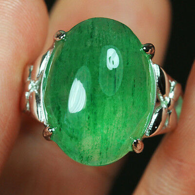 29.7CT 100%Natural 18K Gold Plated Green Strawberry Rutilated Quartz Ring UDIS77