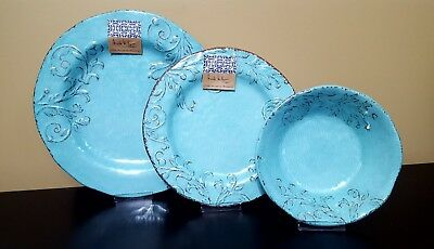 Nicole Miller Melamine Turquoise Scroll Floral Plates Bowls Dinnerware 12pc & NICOLE MILLER MELAMINE Turquoise Scroll Floral Plates Bowls ...