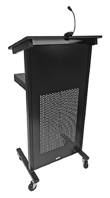 New Lectern Presentation Speaker Stand Detachable LED Light Black Powder Coated