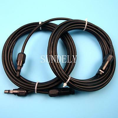 Fast Pair of 5m extension cable leads 4.0mm for solar panels with MC4 connectors