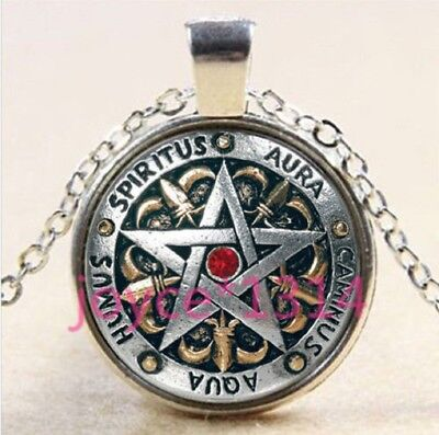 red SILVER PENTAGRAM STAR WICCA MAGIC PAGAN SYMBOL GOTH glass necklace pendant