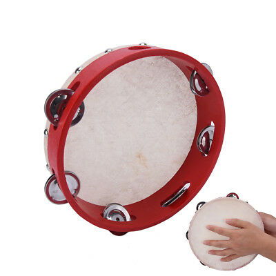 "8"" Musical Tambourine Tamborine Drum Round Percussion Gift for KTV Party _UK"