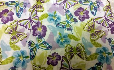"THIN FLANNEL BACK Vinyl Tablecloth 52""x90"" OBLONG (6-8 pp) PURPLE BUTTERFLIES,BH"