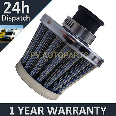 12mm AIR OIL CRANK CASE BREATHER FILTER MOTORCYCLE QUAD CAR BLUE & CHROME CONE