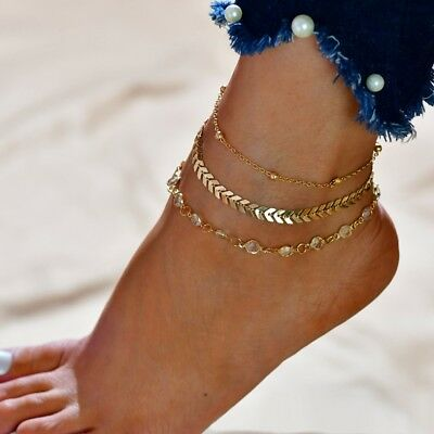 Double chained anklet Copper sequins Vintage anklet jewelry Bracelet Beach