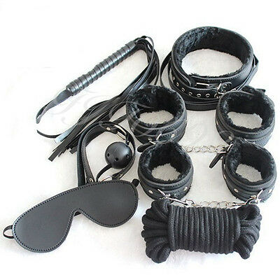 7Pcs ball Gag legcuffs Handcuffs Cuffs Strap Whip Rope Neck blindfold Bandage