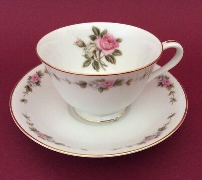 Vintage Noritake RC # 210 Footed Cup And Saucer - Pink Roses