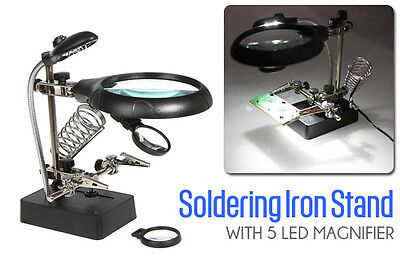 5 Led Magnifying Magnifier Glass With Light On Stand Clamp Arm Hand School Study