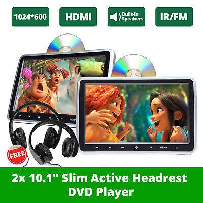 "US Slim 2x 10.1"" HD Screen Car Headrest DVD Player Pillow Monitor HDMI+Headset E"