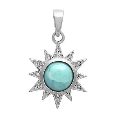 Sun God Larimar Cabochon Pendant Jewelry With White Topaz Stone For Women/Girls