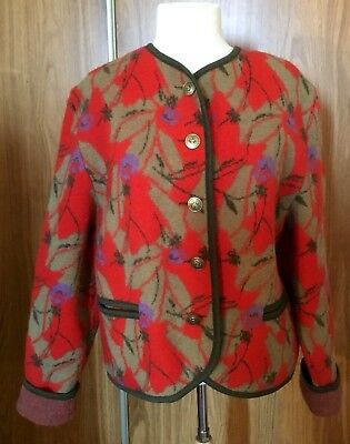 Vintage ALTENBEURER Cardigan Boiled Wool German Colourful Button Front Womens 42