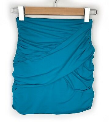 Kookai Blue Gathered Wrap Mini Skirt Size 1 XS Bandage Fitted Body Con Evening