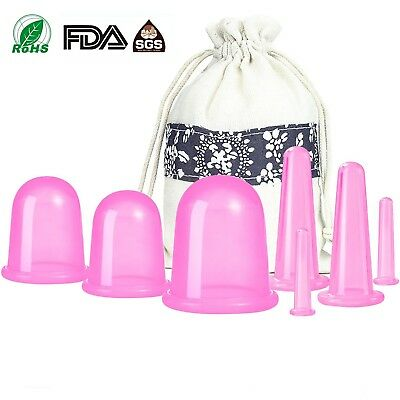 7Pcs Silicone Anti Cellulite Massage Vacuum Cupping Body Facial Cups Therapy