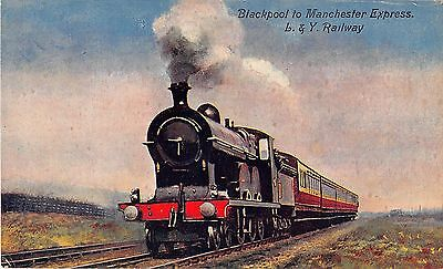 UK postcard England Blackpool to Manchester Express L. & Y. Railway steam train