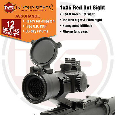 M3 style red dot rifle sight / 1x35 illuminated red +green dot with Killflash