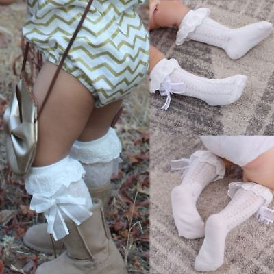 Toddlers Cotton Bowknot Kids Leg Warmer Baby Knee High Socks Tights Stockings