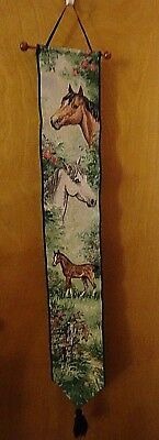 Horses Tapestry Wall Scroll On Rod, Mares & Foals, Ready To Hang! New Old Stock