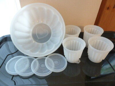 Vintage Tupperware 1 x Large Jelly Mould + 4 x Small Moulds