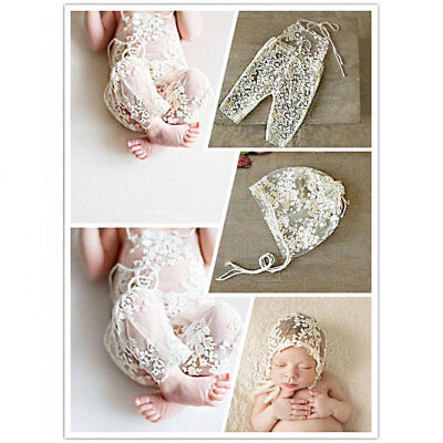 Newborn Baby Girl Lace Floral Romper Hat Photo Prop Photography Costume