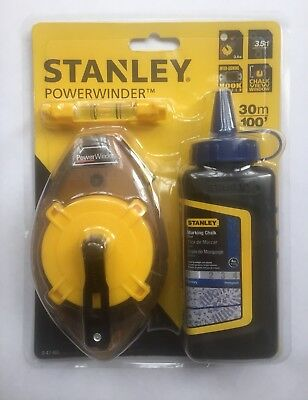 NEW Stanley Power Winder 30m Chalk Line Reel & Mini Level + Blue Chalk 0-47-465'