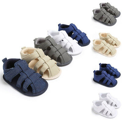 Baby Kids Boys Soled Boots Canvas Sandals Soft Shoes Casual Plain Summer Beach