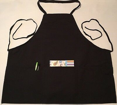 Black Bib Apron w/ 3 Fold Up Pockets, Spun Poly, 100% American Made