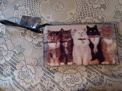New 5 Cat Photo Line-Up Cat Wristlet Zip Coin Purse Wallet Makeup Bag 10X6