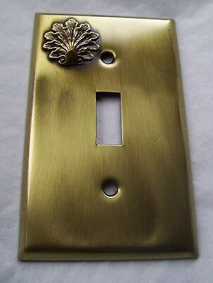 Light Switch Plate Cover  Brass Single Toggle - FLUTED SHELL  DESIGN