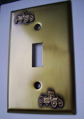 Light Switch Plate Cover  Brass Single Toggle -ANTIQUE CAR  DESIGN