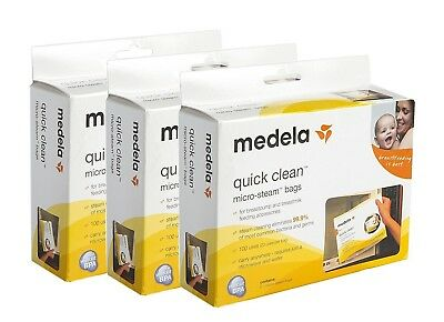 3 Boxes of Medela Quick Clean Micro-Steam Bags 5 Bags per Box 15 Total 87024