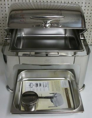 LENOX USA Commercial Grade 6.3-quart ROLL-TOP Steel Chrome CHAFING DISH Mint
