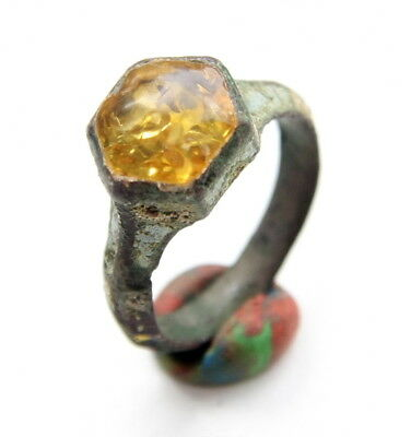 Ancient Medieval Bronze Finger Ring With Amber Inlay (ARL02)