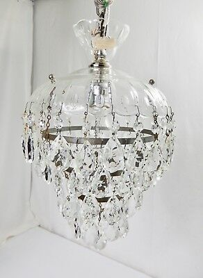 Vintage 1940's Wedding Cake Glass-Crystal Chandelier. Restored & New Wiring