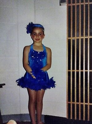 Costume 2 in 1 Blue Sequin Dress Tap Jazz Costume Gloves Skirt or Pants Feathers