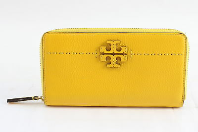 NWOT Tory Burch McGraw Ladies Yellow Leather Zip Medium Continental Wallet