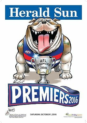 2016 Afl Western Bulldogs Grand Final Premiership Poster Mark Knight Herald Sun