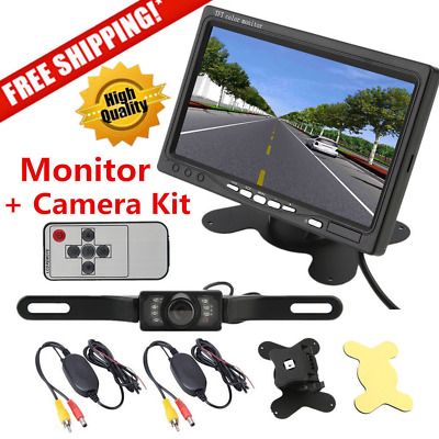 """Wireless IR Rear View Backup Camera Night Vision System +7"""" Monitor For RV Truck"""
