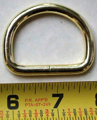 """(10 PACK) 1-1/2"""" welded wire D DEE Ring Brass plated Dog Collar Leash Tack 40346"""