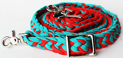 Horse Western Barrel Reins Nylon Braided Bright Red 60792