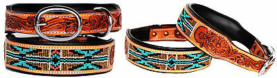 Rhinestone Dog Puppy Collar Crystal Western Cow Leather  6038