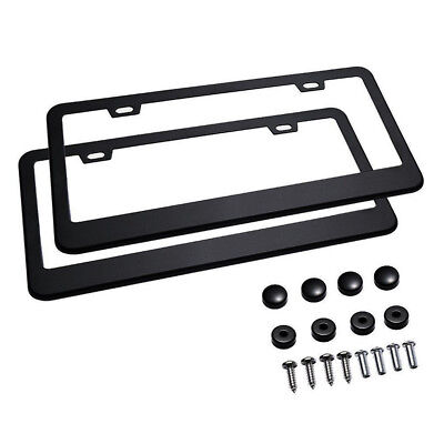 2 X Car License Plate Frame 304 Stainless Steel Black Tag Cover Screw Caps