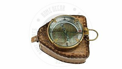 New Vintage Maritime Antique Brass  Compass With Leather Case Sailors Compass