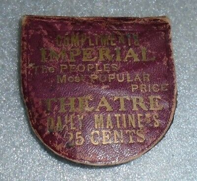 old leather pocket mirror advertising Imperial Theatre