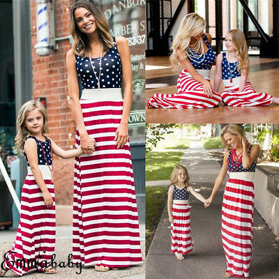 US 4th of July Mother Daughter Matching Outfit Mom Girl Long Maxi Dress Sundress