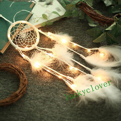 Handmade Dream Catcher Net LED Hanging White Feathers Wall Decoration Car Craft