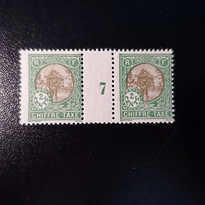 France Colony Indochina Stamp Tax N°47 Millésime 7 Neuf Original Gum