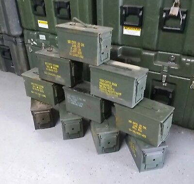 US Military 50 CAL M2A1 Steel Ammo Can LOT OF 10 Airtight 12x6.5x7.5 FREE SHIP