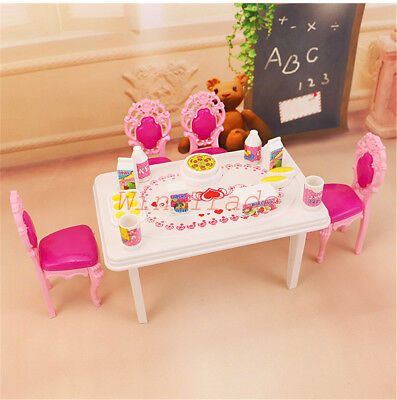 17PCS Dinner Table Chair Drink Food Set for Barbie Doll House Toy Furniture